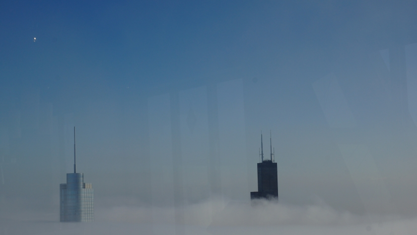 Sear's Tower and Trump in a surreal fog photo