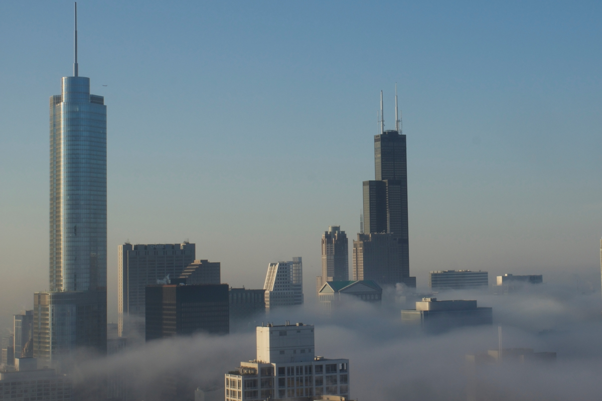 Chicago skyline underfog