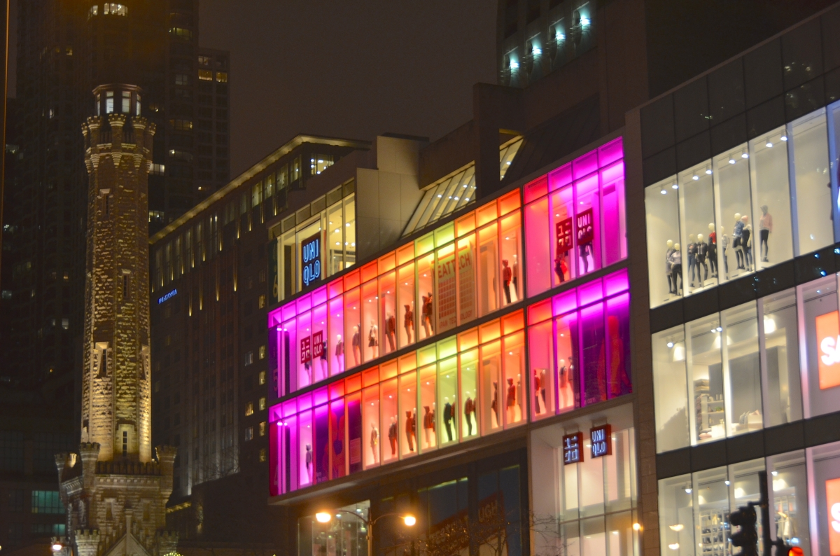 Neon meets 1800's on Michigan Avenue